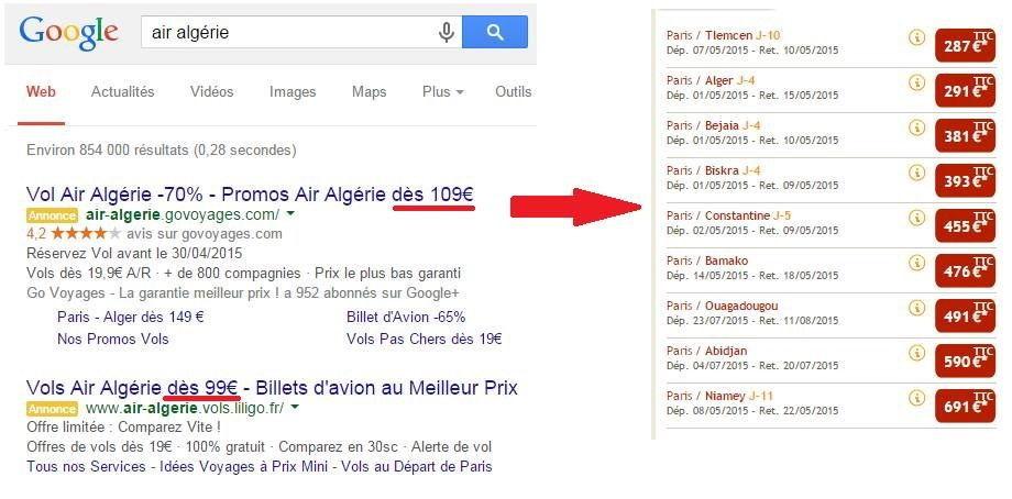Publicités mensongères sur les vols d'Air Algérie